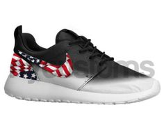 Nike Roshe Run Black White Fade American Flag Pride Womens