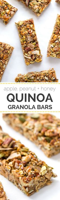 Apple, Peanut + Honey Quinoa Granola Bars -- they're NO-BAKE, healthy and will actually keep you full when you need a snack! All clean eating ingredients are used for this healthy granola bar recipe. Pin now to make this healthy snack later. Quinoa Granola Bars, Homemade Granola Bars, Muesli Bars, Snack Recipes, Cooking Recipes, Healthy Recipes, Healthy Breakfasts, Apple Recipes, Goji