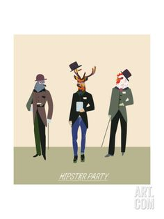 Vintage Hipsters Trendy Illustration Art Print by run4it at Art.com