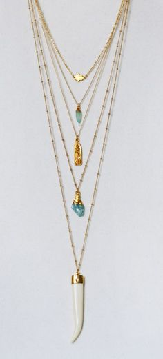 boho style layered chains | kei jewelry