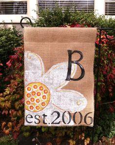 Burlap Garden Flag Daisy Established Year by ModernRusticGirl