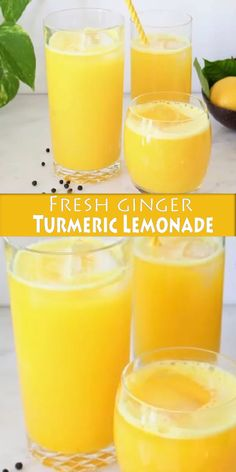Fresh ginger turmeric lemonade recipe made whole foods: fresh ginger and turmeric root and a touch of black peppercorns to boost the absorption of curcumin and stimulate the taste buds. Healthy Juice Recipes, Juicer Recipes, Healthy Juices, Healthy Smoothies, Healthy Drinks, Whole Food Recipes, Detox Recipes, Blender Recipes, Healthy Food