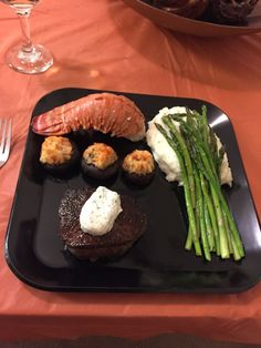 Filet mignon and lobster tail Surf and Turf dinner. Perfect for a romantic night with my honey! dinner romantic Surf and Turf- romantic dinner for two Romantic Dinner For Two, Romantic Dinner Recipes, Romantic Meals, Romantic Night, Romantic Food, Romantic Picnics, Recipes Dinner, Valentines Day Dinner, Valentines Food