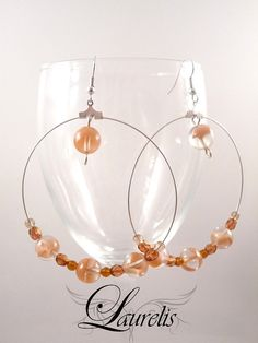 Peach glass round earrings by Laurelisbijoux on Etsy, $9.90