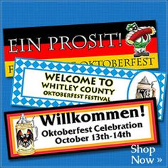Shop for #Oktoberfest banners featuring traditional colors and Oktoberfest motifs.