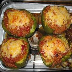 toaster oven stuffed bell peppers, I didnt follow the recipe really, but they turned out awesome!!