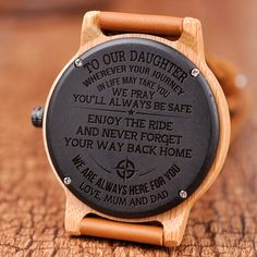 Great Gifts To My Daughter Engraved Wooden Watch Love Mom Quotes, Daughter Love Quotes, To My Daughter, Wife Quotes, Husband Quotes, Daughters, Great Gifts For Women, Diy Gifts For Kids, Perfect Gift For Girlfriend