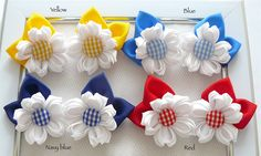 Handmade Kanzashi girls School uniform gingham hair clips bows pins, slides, buy…
