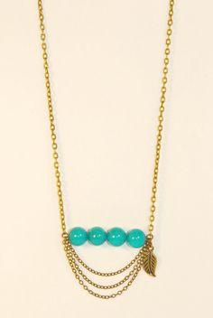 Chaîne sautoir agrémentée de perles de jade par Lamallettecoquette / Jade beads / Chain necklace