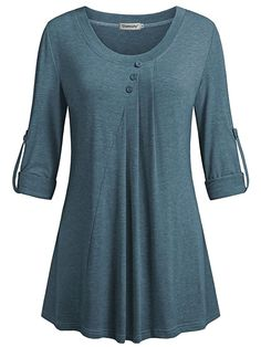 Women's Clothing, Tops & Tees, Blouses & Button-Down Shirts, Women's Scoop Neck Roll-Up Sleeve Tunics Pleated Casual Blouses Tops - Blue - Source by rosendycom outfits casual Xl Mode, Casual Outfits, Fashion Outfits, Womens Fashion, Latest Fashion, Fashion Trends, Roll Up Sleeves, Trendy Tops, Blouse Designs