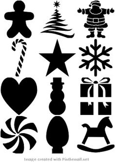 Free Printable Christmas Stencils -- Could trace and cut with the Silhouette! Christmas Design, Christmas Projects, Christmas Holidays, Christmas Decorations, Christmas Music, Christmas Paper, Christmas Images, Free Christmas Printables, Christmas Templates