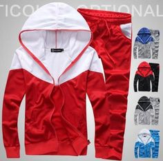 Hot-Mens-Long-Sleeve-Sport-Wear-Coats-Pants-Tracksuit-Hooded-Athletic-Apparels