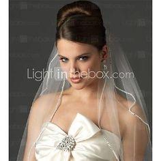 Wedding Veil Two-tier Elbow Rhinestone Edge Veils - GBP £36.49
