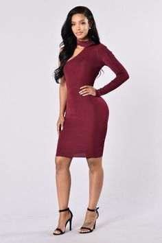 - Available in Black and Burgundy - Mock Neckline - Single Sleeve - Body Con - 85% Rayon, 15% Spandex