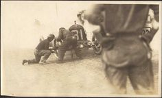 It's the case car at the 1913 Indy 500 with driver Louis Disbrow chaning the tire on the track! Google Image Result for http://1.bp.blogspot.com/-CTsJicCFML8/TnwLBg5H-JI/AAAAAAAAAFI/8h3n-i7cILw/s1600/I500-1913-Disbrow1.jpg