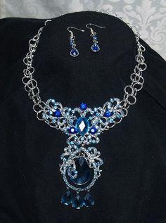 Swarovski Blue Crystal Choker With Earrings