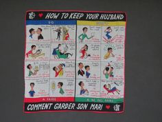 1950s How to Keep Your Husband Handkerchief by Kreier - Novelty English French Hankie Hanky - Collectible - Arts Crafts Artwork - AS IS