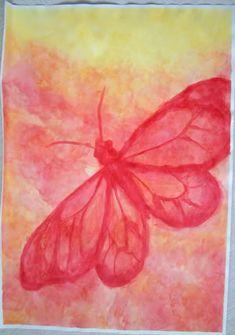 Eerst achtergrond nat-in -nat, laten drogen daarna nat op droog (vlinder)