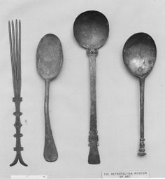 Spoon Date: century Culture: British Medium: Latten, tinned Dimensions: L… Vintage Cutlery, Vintage Table, Love Spoons, Spoon Art, Wabi Sabi, Kitchen Utensils, Metropolitan Museum, Blacksmithing, 17th Century