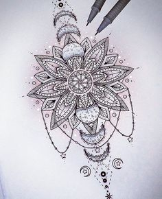 @Saphiriart on Instagram - mandala eclipse tattoo design