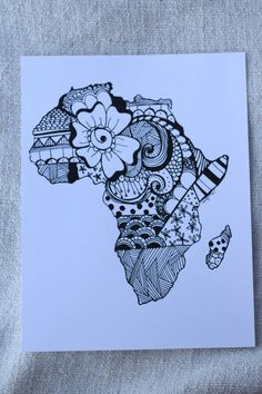 Africa  Zentangle Print by nickolettamay on Etsy Ready to Frame! $8
