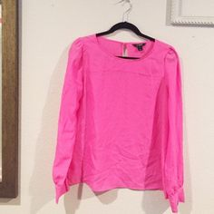Long Sleeved Hot Pink Blouse Worn 2-3 times, great for spring and summer! Easy to dress up or down. J. Crew Tops Blouses
