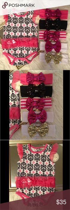 6-9 months onesie and 4 headbands Get this amazing 6-9 months hot pink, black and white onesie set with 4 headbands...you choose the 4 you want out of the colors. If you want all 5 add $5 per each additional bow to the listing price. Price firm due to fees Matching Sets