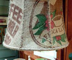 I Like My Coffee Light...Burlap Lampshade