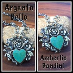 Argento Bello artist Amberlie Bandini. Kingman Turquoise and Sterling with handmade blossoms and leaves.