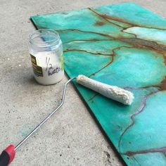 turquoise gem patina wall art how to, crafts, home decor, painting, wall decor