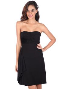 Invest in a classic with the Anne-Sophie Boobtube Dress by Linx. This elegant frock showcases a boobtube top and A-line cut. Black in colour, it displays an empire waistline, accented by a fabric flower and drapery on the right side. Perfect for a party, team it with your favourite heels and get ready to let your hair down.