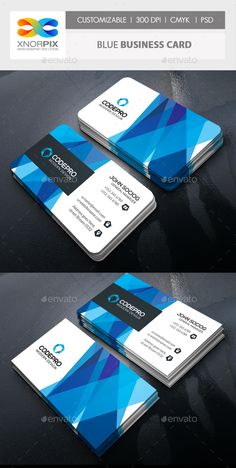 Blue Business Card — Photoshop PSD #modern #blue • Available here → https://graphicriver.net/item/blue-business-card/14414042?ref=pxcr