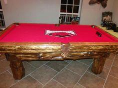 Cedar Log Pool Table - Arkansas Razorbacks