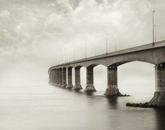 This is the Confederation Bridge, which connects Prince Edward Island to the rest of Canada (via New Brunswick). I still don't think it's the longest bridge in the world though. Any bridge geeks out there know which one is? Water Under The Bridge, Great Lengths, Prince Edward Island, New Brunswick, My Favorite Image, Glasgow, Places To Visit, World, Beach