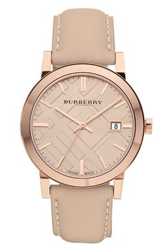 This Burberry 38mm Stamped Round Dial Watch originally $495 drops to $330.98 at Nordstrom.