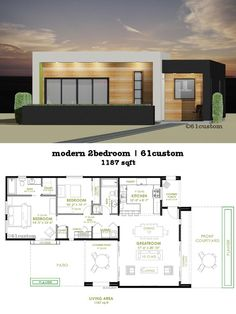 This modern house plan offers two bedrooms, two bathrooms, a spacious greatroom, front courtyard, modern front kitchen and covered patio is part of 2 bedroom house plans - Modern Courtyard, Courtyard House Plans, Front Courtyard, Small Modern House Plans, Modern Farmhouse Plans, Modern House Design, Small Floor Plans, Modern Floor Plans, 2 Bedroom House Plans