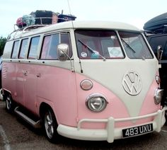 c186ef3469 I Need A Hippie VAN. This pink VW is calling my name all day long.