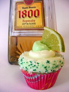 Mini Margarita Cupcakes .... am thinking of substituting some of the margi mix…
