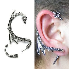 Dragon Ear Cuff Cool Dragon Ear Wrap Silver Dragon Ear Cuff Jewelry Unique Silver Dragon Ear Wrap for Men and Women Silver Phantom Jewelry Drachenohr Manschette Wrap – Game of Thrones inspiriert Drachenohrring, Drachen Schmuck Cute Jewelry, Jewelry Accessories, Unique Jewelry, Western Jewelry, Hippie Jewelry, Inexpensive Jewelry, Gothic Jewelry, Gothic Earrings, Magical Jewelry