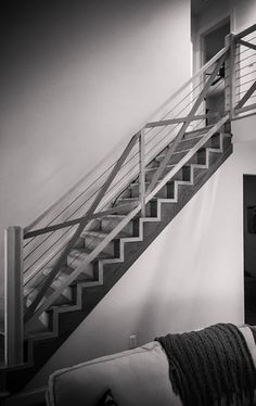 Project of the Month - September A modern staircase design with a custom wood and cable handrail system. Railing Design, Stair Railing, Staircase Design, Modern Railing, Modern Staircase, Cable Railing Systems, Stairways, Interior And Exterior, Modern Design
