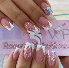 Rhinestone Nails, Bling Nails, My Nails, Short Nail Designs, Nail Art Designs, Hello Nails, Diy Acrylic Nails, Semi Permanente, Nail Games