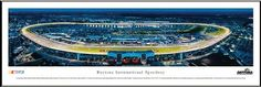 "NASCAR Tracks - Daytona Intl Speedway Aerial - Night II - Framed Poster Print by Laminated Visuals. $89.95. This aerial panorama of Daytona International Speedway features a twilight view during a NASCAR Sprint Cup Series race. The 480-acre motorsports complex, which opened in 1959, boasts the most diverse schedule of racing on the globe, featuring everything from NASCAR Sprint Cup Series to go-karts and superbikes. The Speedway is also home to ""The Great Amer..."