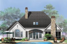 Craftsman Style House Plan - 3 Beds 2 Baths 2046 Sq/Ft Plan #929-6 Exterior - Rear Elevation - Houseplans.com