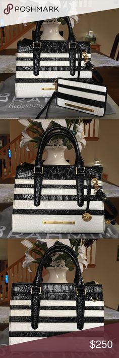 """💦☔️Brahmin Corsica Anywhere Convertible & Wallet Anywhere Convertible Satchel & Debra Wallet Both are in excellent condition. No wear or tear. Interior is clean. Comes with long strap and dust bag. Color name: corsica (back and white striped) Dimensions of the bag: 10.5"""" x 7.75"""" x 5"""" 4.5"""" handle drop 24.5"""" strap drop Brahmin Bags Satchels"""
