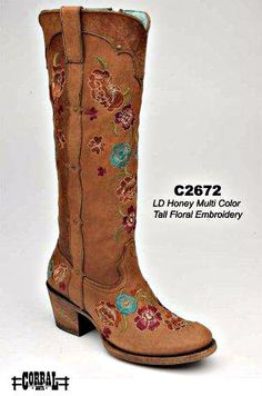 Would be cute with jeans tucked in................Rivertrail Mercantile - Corral Honey Multi Color Tall Floral C2672, $249.99 (http://www.rivertrailmercantile.com/corral-honey-multi-color-tall-floral-c2672/)