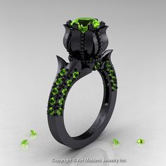 Classic 14K Black Gold 1.0 Ct Peridot Solitaire by artmasters, $2059.00