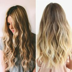 Brown ombre balayage hairstyle with blonde highlight, beautiful loose curls