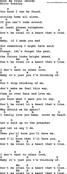 Piano Cords Song Lyrics with guitar chords for Don't Be Cruel Easy Ukulele Songs, Guitar Chords For Songs, Music Chords, Guitar Sheet Music, Lyrics And Chords, Music Lyrics, Ukulele Chords, Guitar Tabs, Uke Tabs