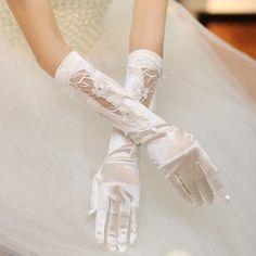 The long paragraph satin bow Bridal Gloves