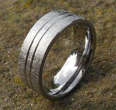 Unusual Scratched Titanium Wedding Ring | LOVE2HAVE UK! Titanium Wedding Rings, Titanium Rings, Unusual Wedding Rings, Wire Brushes, Jewelry Rings, Rings For Men, Jewelry Making, Silver, Gold